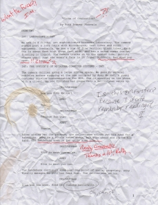 A page from Jhabvala's original script. Annotated by Ismael Merchant and James Ivory.