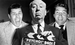 "Hitchcock with Martin and Lewis on the set of ""Psycho!"""