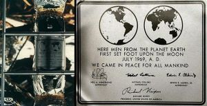 The plaque left behind by the Apollo 11 astronauts.